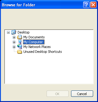 Screenshot of a folder browse dialog