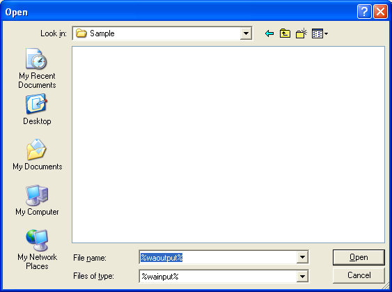 Screenshot of a file open dialog